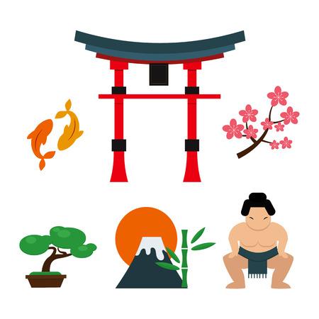 Japan landmark reizen vector iconen collectie. Van het de cultuurteken van Tokyo van het ontwerpelementen de tijdillustratie. Aziatische traditie decoratieve kunst in het oosten. Stock Illustratie
