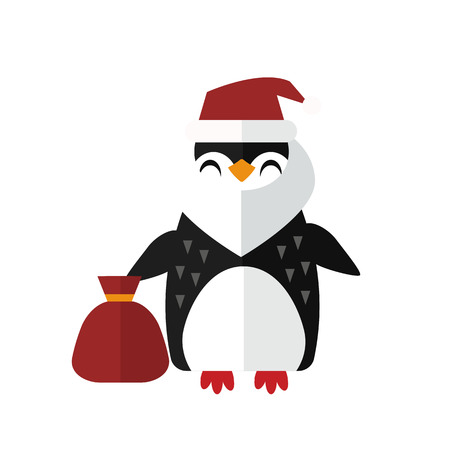 Penguin santa vector animal character illustration.