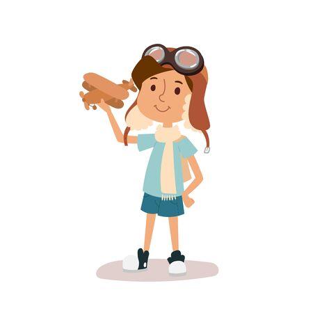 avia: Cartoon vector kid playing pilot aviation character. Stock Photo