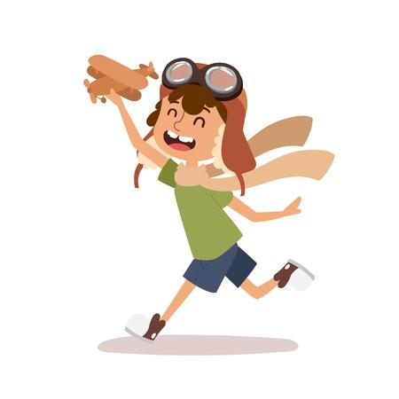 Cartoon vector kid playing pilot aviation character. Stock Photo