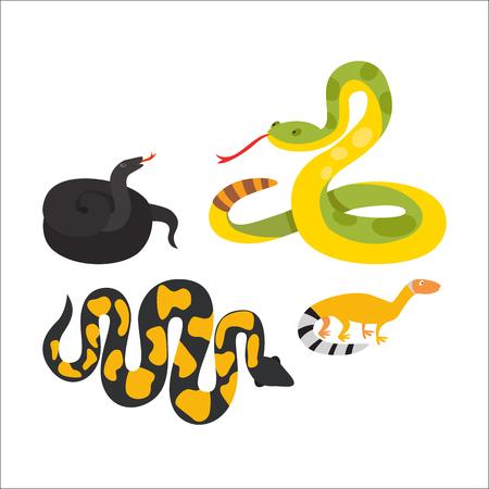carattere serpente wildlife vipera. Piatto simbolo pitone veleno predatore animale tossico. Cartoon pericolo lingua velenosa. illustrazione vettoriale rettile comune.