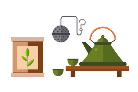 Tea ceremony traditional asian drink vector illustration. Japanese green antique bowl healthy hot natural beverage. Beautiful relax service oriental teapot.