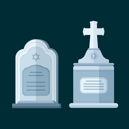 Tombstone crypt vector construction for dead people.