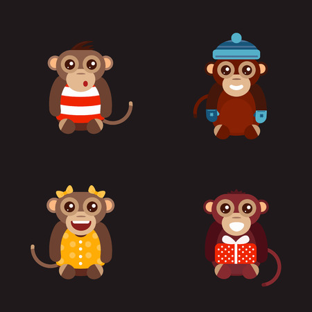 Monkey animal fun character vector illustration. Illustration
