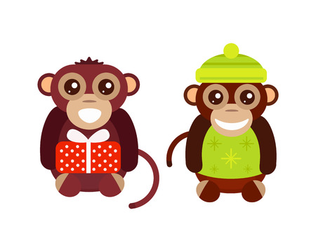 Monkey animal fun character vector illustration. Illustration