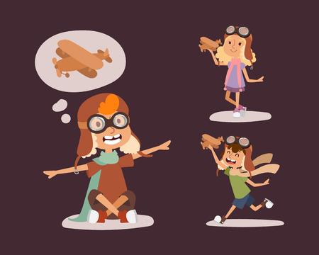 Cartoon vector kids playing pilot aviation character.