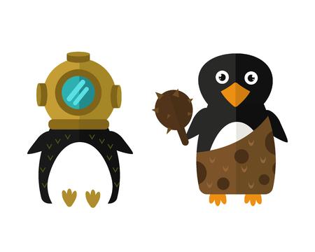 Penguin aqualung vector animal character illustration.