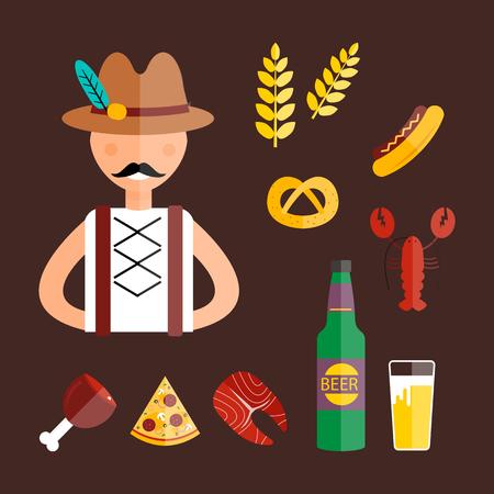 beer stein: Oktoberfest man vector illustration. Illustration