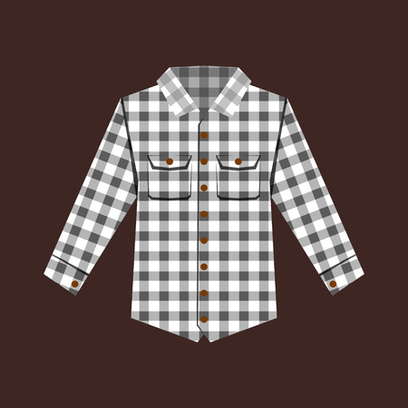 Cheskered shirt isolated vector illustration.