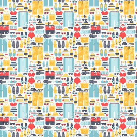 summertime: Summertime accessories seamless pattern vector.