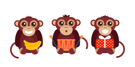 Monkey animal fun character vector illustration. Stock Photo