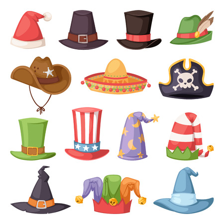 Different funny hats for party and holidays masquerade vector Stock Photo