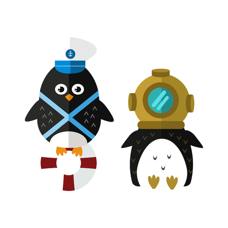 Penguin sailor vector animal character illustration.