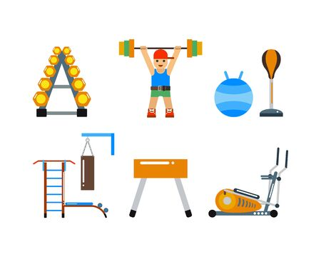 fitball: Fitness gym club vector icons. Stock Photo