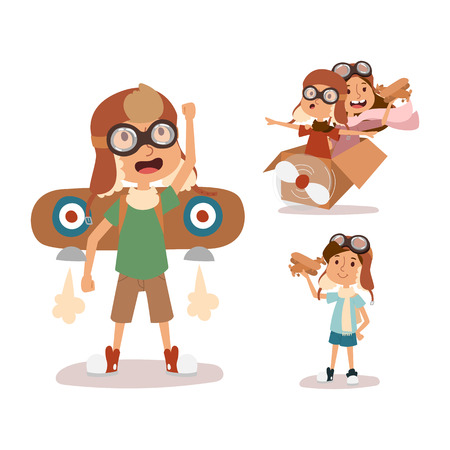 avia: Cartoon vector kids playing pilot aviation character.