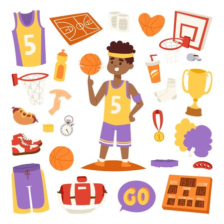 Basketball player and icons stickers vector.