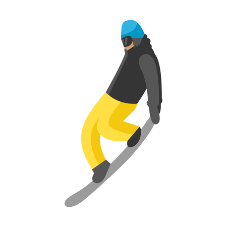 Snowboarder jump in pose people vector.