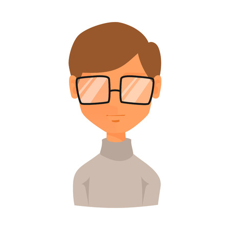Man portrait face icon web avatar flat style vector.