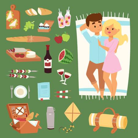 pareja comiendo: Barbacoa de descanso par de picnic y los iconos del vector.