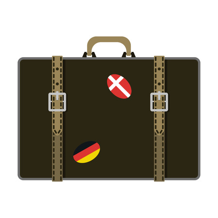 Travel tourism fashion baggage and vacation handle leather big packing briefcase. Voyage destination bag on wheels. Journey suitcase departure vector. Stock Photo