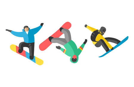 Snowboarder jump in different pose people vector.