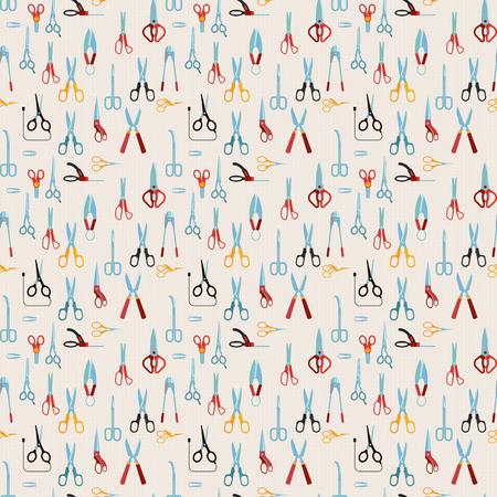 Scissors vector seamless pattern.