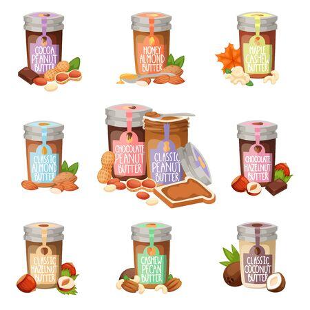 Peanut butter vector flat design illustration jar. Stock Photo