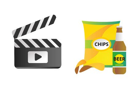 Clapper board and chips food vector illustration. Illustration