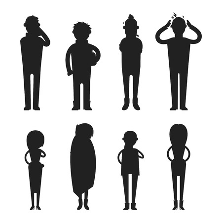 flu shot: Illness flu people feeling cold silhouette vector illustration.