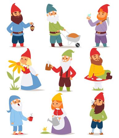 Gnome の庭は、キャップと漫画古い休日レプラコーン園芸男性ベクトル図に面白い小さな文字かわいいおとぎ話ドワーフ男を設定します。