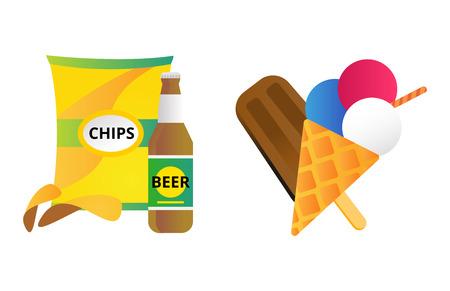 Chocolate vanilla ice cream and chips vector. Illustration