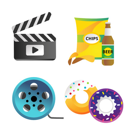 Clapper board and cinema icons vector illustration. Illustration