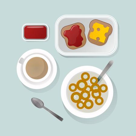 cereal bowl: Semolina porridge breakfast top view vector illustration. Stock Photo