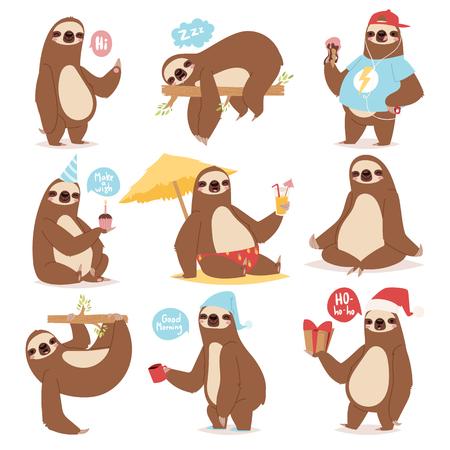 怠惰怠惰動物キャラクターの異なる人間のかわいい怠惰な漫画カワイイようなポーズし、野生のジャングル哺乳類フラット デザイン ベクトル図が遅