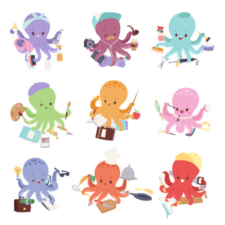 Octopus mollusk ocean coral reef animal character different pose like human and cartoon funny, graphic marine life underwater tentacle vector illustration. Ilustração