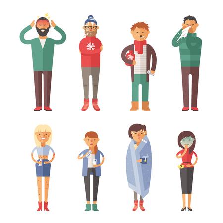 Ziekte griep mensen voelen koud en blazen zijn neus vector illustratie.