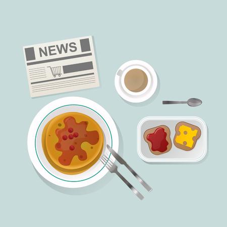 Semolina porridge breakfast top view illustration.