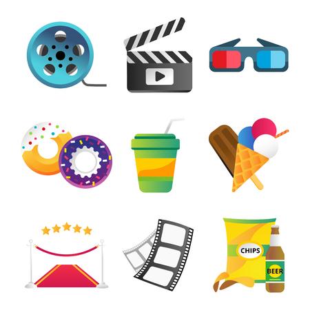 Fast food and film cinema technology vector illustration. Illustration