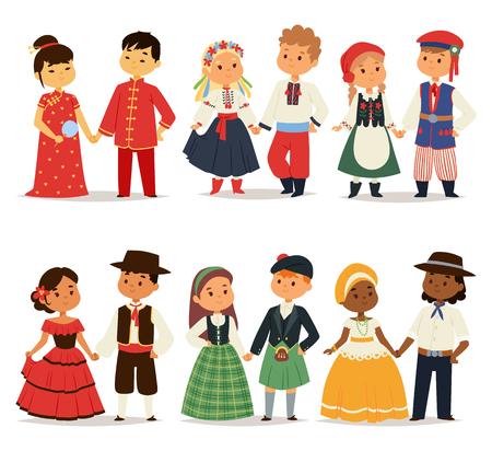 traje mexicano: niños parejas tradicional carácter de las muchachas del vestido del mundo y los niños en diferentes trajes nacionales e ilustración vectorial vestido de nacionalidad niños pequeños linda. Foto de archivo