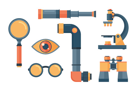 Spyglass telescope lens vector illustration. Çizim