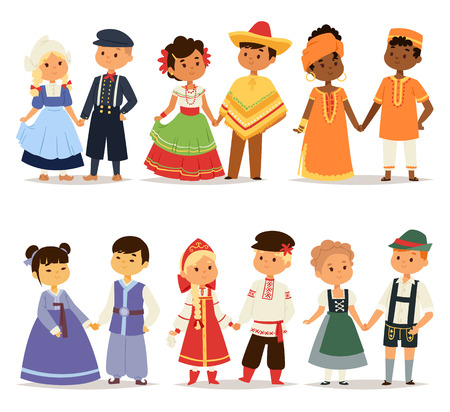 Traditional kids couples character of world dress girls and boys in different national costumes and cute little children nationality dress vector illustration. Stock Photo