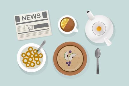 produits céréaliers: Alimentation de petit déjeuner saine vue d'ensemble illustration vectorielle.