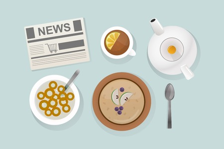 carbohydrate: Healthy breakfast food top view vector illustration.
