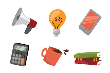 personal organiser: business stress isolated vector illustration office life concept bullhorn meeting report lamp idea coffee calculator book notebook graph diagram
