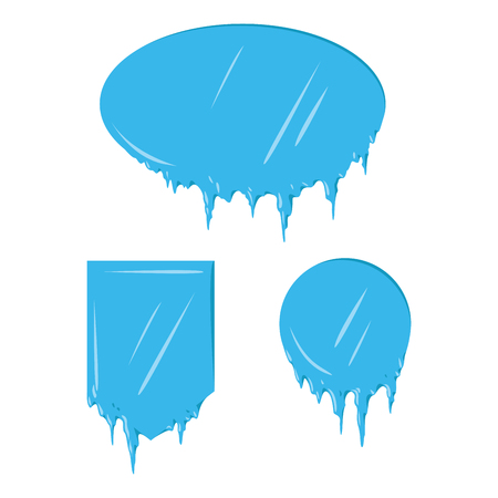 Collection of frozen icicle snow winter vector banner. Illustration