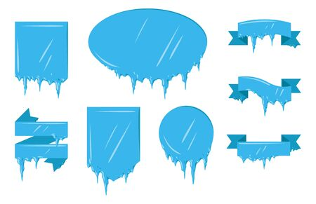 spiked: Collection of frozen icicle snow winter vector banner. Illustration