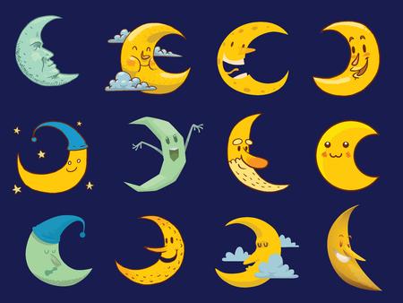 penumbra: Different moon cartoon face month illustration. Illustration