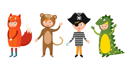 Kids different costumes isolated vector illustration Illustration