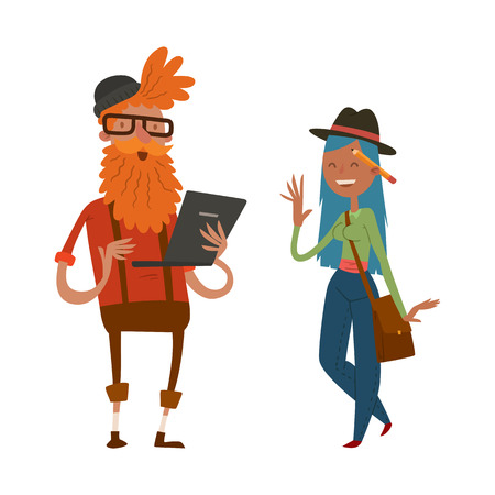creative team people hipster business landing page website profile design studio designer art-director character set collection vector illustration Stock Photo