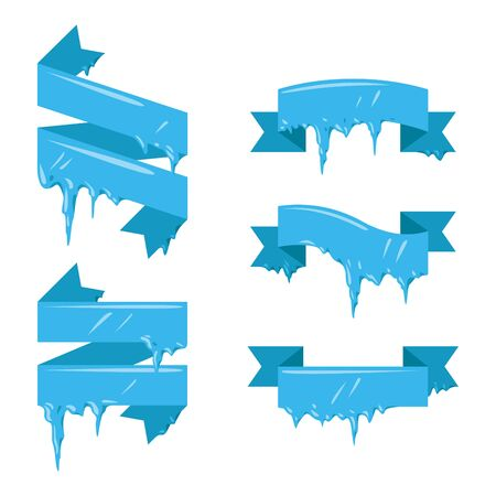 Collection of frozen icicle snow winter vector banner. Stock Photo